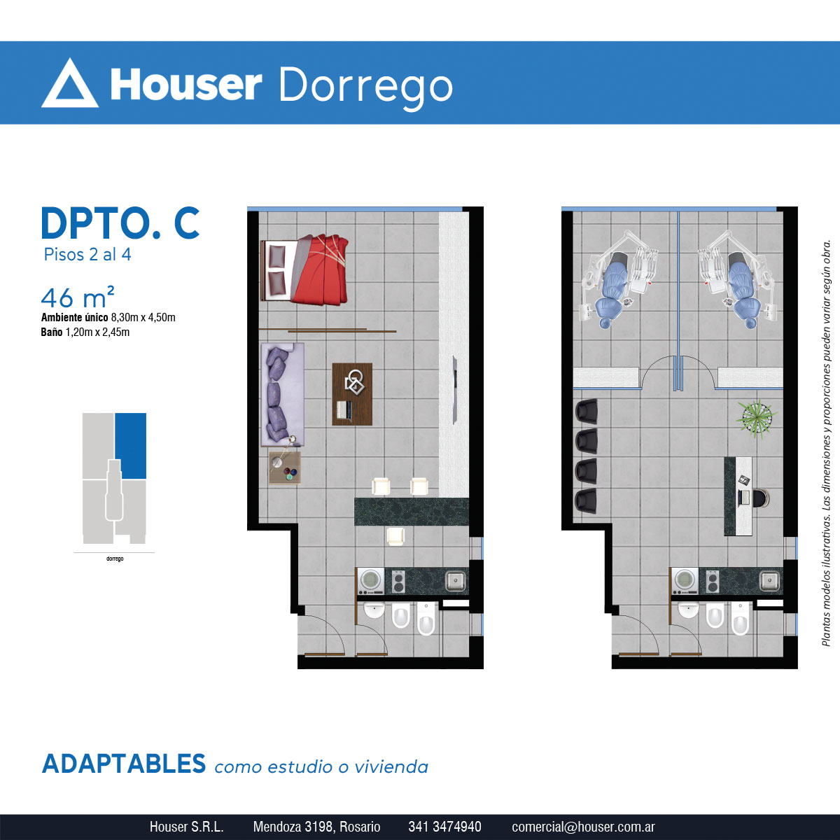 Plantas Houser Dorrego - Departamento C Pisos 2 a 4