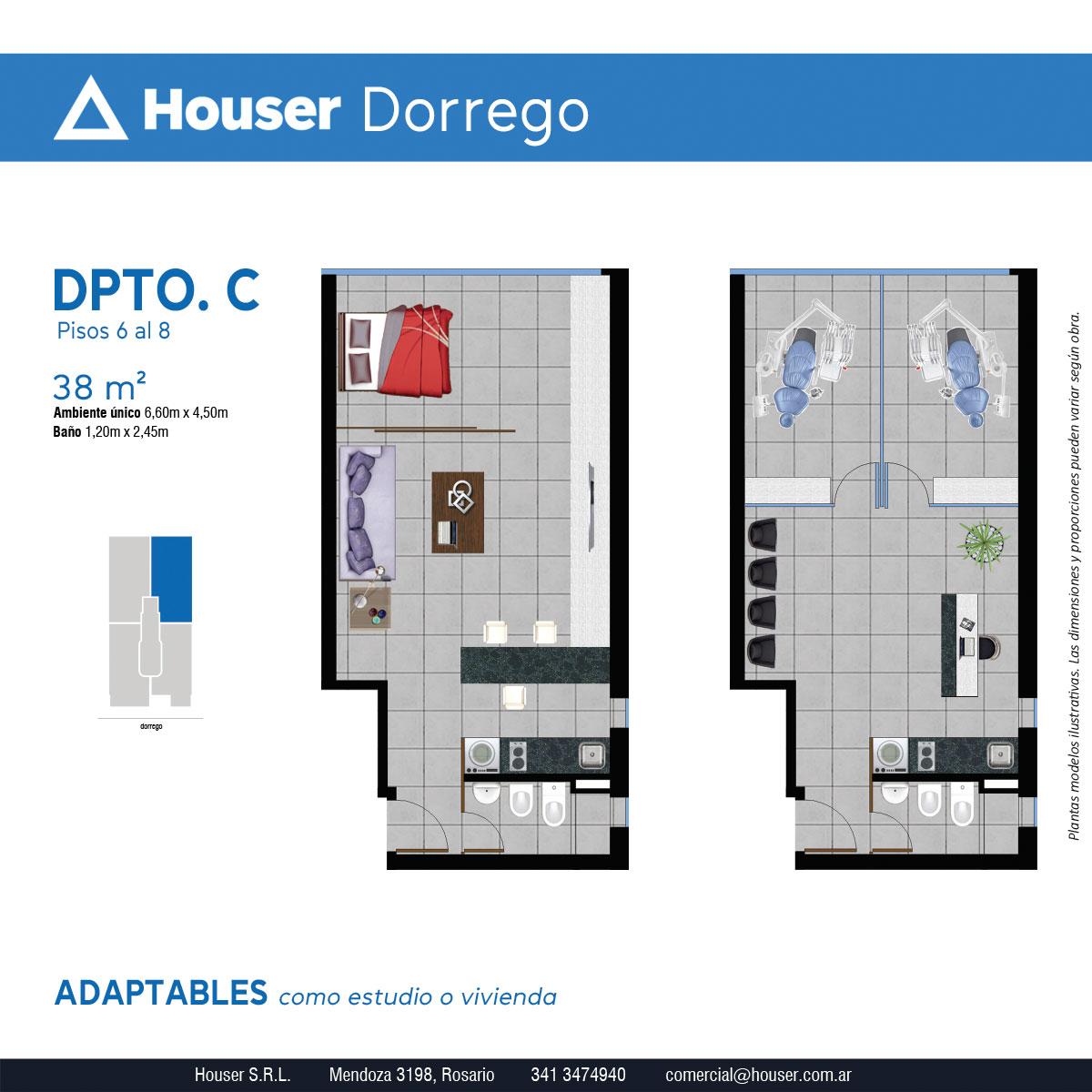 Plantas Houser Dorrego - Departamento C Pisos 5 a 8