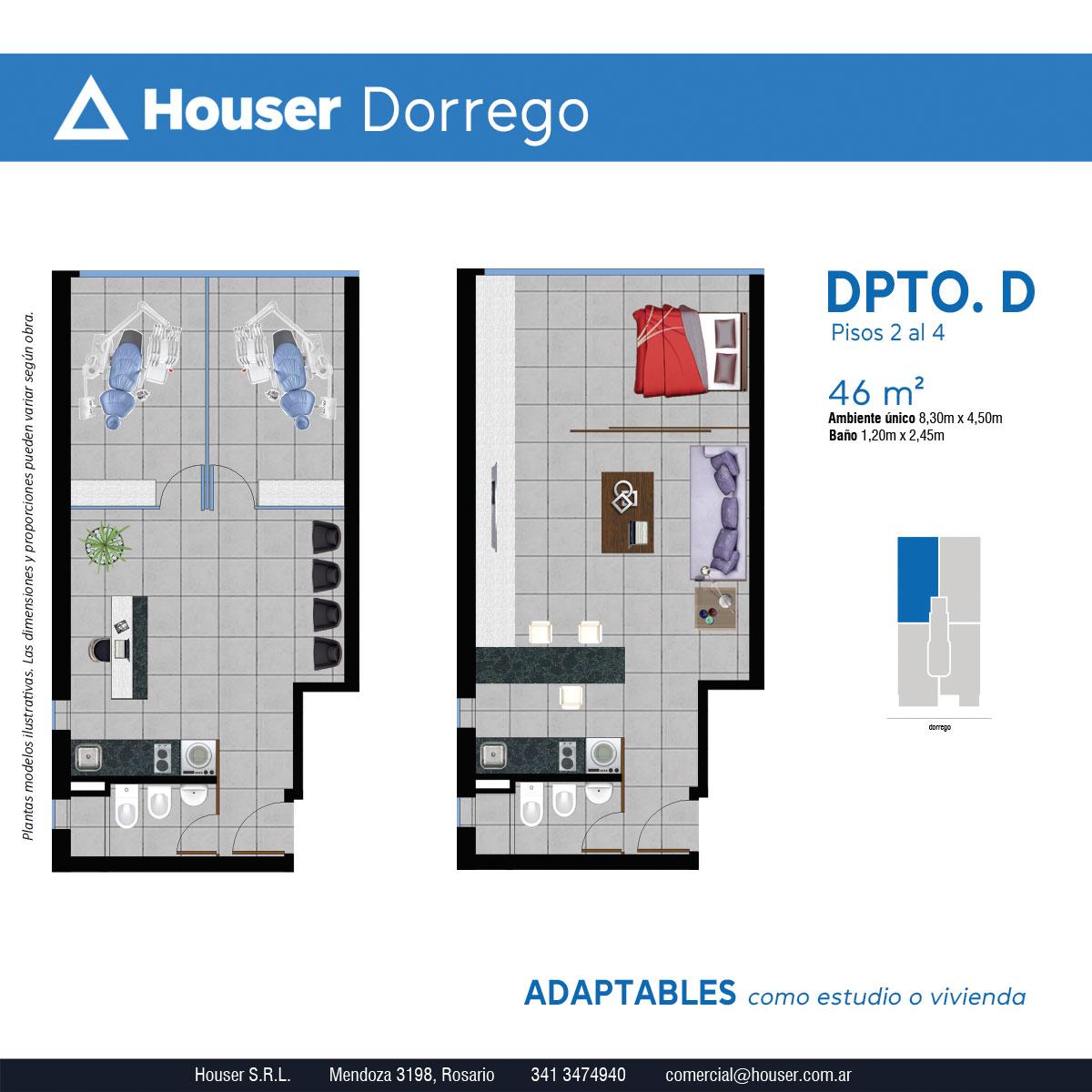 Plantas Houser Dorrego - Departamento D Pisos 2 a 4